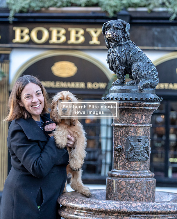 Former Scottish Labour leader, Kezia Dugdale celebrates the 147th anniversary of the death of the famous Greyfriar's Bobby with her dog Brodie. <br /> <br /> The event, organised by The Dogs Trust, celebrates the dog which spent many years sitting on it's masters grave.