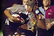 Photo Peter Spurrier<br />04/02/2003<br />Betfair Challenge Rugby - NEC  Harlequins v The Sharks<br />Sharks lock, Albert van den Berg , look's for a way through the Harlequins defence. , The Stoop Memorial Ground, [Mandatory Credit: Peter Spurrier/Intersport Images],
