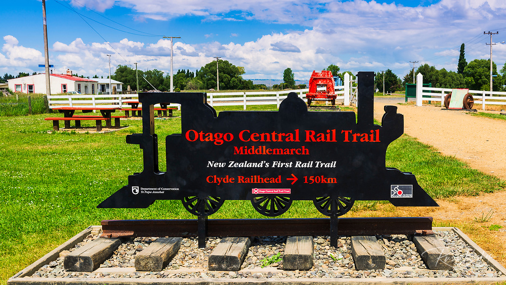 Sign at the start of the Otago Central Rail Trail, Middlemarch, Otago, South Island, New Zealand