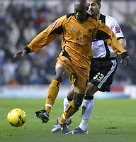 Photo: Dave Linney.<br />Derby County v Wolverhampton Wanderers. Coca Cola Championship. 18/11/2005.George Ndah(Wolves) keeps   Marcus Tudgay(Derby) at bay.