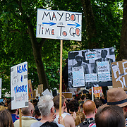 London, UK. 17th June 2017. Thousands Protest against THERESA MAY demand May to resign and demand Justice for the Grenfell Tower Fire victims and those responsible to be sent to the jail outside Downing Street.