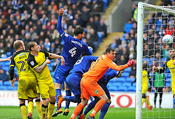 Sean Morrison of Cardiff City scores a goal which is disallowed - Mandatory by-line: Nizaam Jones/JMP- 30/03/2018 -  FOOTBALL -  Cardiff City Stadium- Cardiff, Wales -  Cardiff City v Burton Albion - Sky Bet Championship