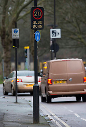 "© Licensed to London News Pictures.20/01/2021, London,UK. A speed limit sign in east London as the Department for Transport (DfT) plans to charge motorists for minor traffic violations which could result in automatic fines of £70. Civil penalties will be handed by nearly 300 local authorities outside London, instead of being imposed by the police. According to the DfT, the process will take ""several months to bring into force"". Photo credit: Marcin Nowak/LNP"