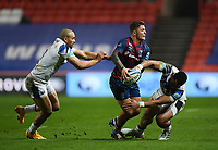 Rugby Union - 2020 / 2021 Gallagher Premiership - Bristol Bears vs Bath - Ashton Gate<br /> <br /> Bristol Bears' Callum Sheedy evades the tackle of Bath Rugby's Jonathan Joseph and Joe Cokanasiga.<br /> <br /> COLORSPORT