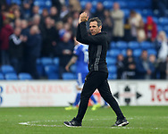 Gianfranco Zola, the Birmingham city manager applauds the Birmingham fans at the end of the match. EFL Skybet championship match, Cardiff city v Birmingham City at the Cardiff City Stadium in Cardiff, South Wales on Saturday 11th March 2017.<br /> pic by Andrew Orchard, Andrew Orchard sports photography.