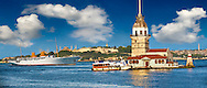 The Maiden's Tower Lighthouse at the mouth of the Bosphorus first built by the ancient Athenian general Alcibiades in 408 BC,  looking towrads from left, the Blue Mosque, Hagia Sophia & the Topkapi Palace on Sarayburnu or Seraglio Point , Istanbul Turkey. .<br /> <br /> If you prefer to buy from our ALAMY PHOTO LIBRARY  Collection visit : https://www.alamy.com/portfolio/paul-williams-funkystock/istanbul.html<br /> <br /> Visit our TURKEY PHOTO COLLECTIONS for more photos to download or buy as wall art prints https://funkystock.photoshelter.com/gallery-collection/3f-Pictures-of-Turkey-Turkey-Photos-Images-Fotos/C0000U.hJWkZxAbg