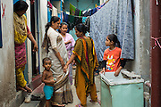 Nazma Akter (second from left) out visting garment workers in Dhaka, Bangladesh. <br /> <br /> Nazma is the President of Awaj Foundation. The Foundation was founded by Zazma in 2003 to support and empower garment workers to negotiate safer and fairer working conditions.