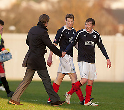 Steven Pressley, Falkirk manager with scorer Falkirk's David Weatherston..Dumbarton 0 v 2 Falkirk, 23/2/2013..©Michael Schofield.