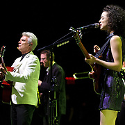 BETHESDA, MD - September 30th, 2012 - David Byrne (left) and St. Vincent (right) perform at the Strathmore Music Hall as part of their joint tour. The pair released a collaborative album, Love This Giant, earlier this month. (Photo by Kyle Gustafson/For The Washington Post)