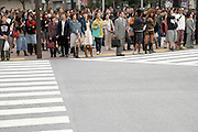 crowd waiting to cross the street Tokyo Japan