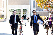 Volagi co-founders Barley Forsman (left) and Robert Choi walk out of the San Jose Superior Court in downtown San Jose, Calif., on Friday Jan. 13, 2011 after the jury dismissed Specialized Bikes claims of design infringement and confidentiality contract breaching.  Photo by Stan Olszewski/SOSKIphoto.com