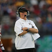 South Carolina head coach Steve Spurrier is seen during the NCAA Capital One Bowl football game between the South Carolina Gamecocks who represent the SEC and the Wisconsin Badgers who represent the Big 10 Conference, at the Florida Citrus Bowl on Wednesday, January 1, 2014 in Orlando, Florida. (AP Photo/Alex Menendez)