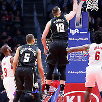 16 December 2015: Milwaukee Bucks center Miles Plumlee (18) puts back the ball in the basket during the Los Angeles Clippers 103-90 victory over the Milwaukee Bucks, at the Staples Center, Los Angeles, California, USA.