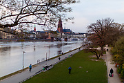 "Germany banned gatherings of more than 2 people called ""social distancing"" because of the coronavirus. The shore of river Main in Frankfurt is very empty on a - normally very busy - Thursday evening."