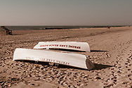 Spring Lake, NJ USA -- June 12, 2017  Sprimg Lake Beach Patrol Boats are lying on the beach early on a beautiful summer morning. Editorial Use Only.