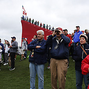 Ryder Cup 2016.  Massive crowds watching play during practice day at the Hazeltine National Golf Club on September 28, 2016 in Chaska, Minnesota.  (Photo by Tim Clayton/Corbis via Getty Images)