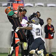 Florida A&M Rattlers defensive back Kareem Smith (19) catches a pass for a touchdown during the Florida Classic NCAA football game between the FAMU Rattlers and the Bethune Cookman Wildcats at the Florida Citrus bowl on Saturday, November 22, 2014 in Orlando, Florida. (AP Photo/Alex Menendez)