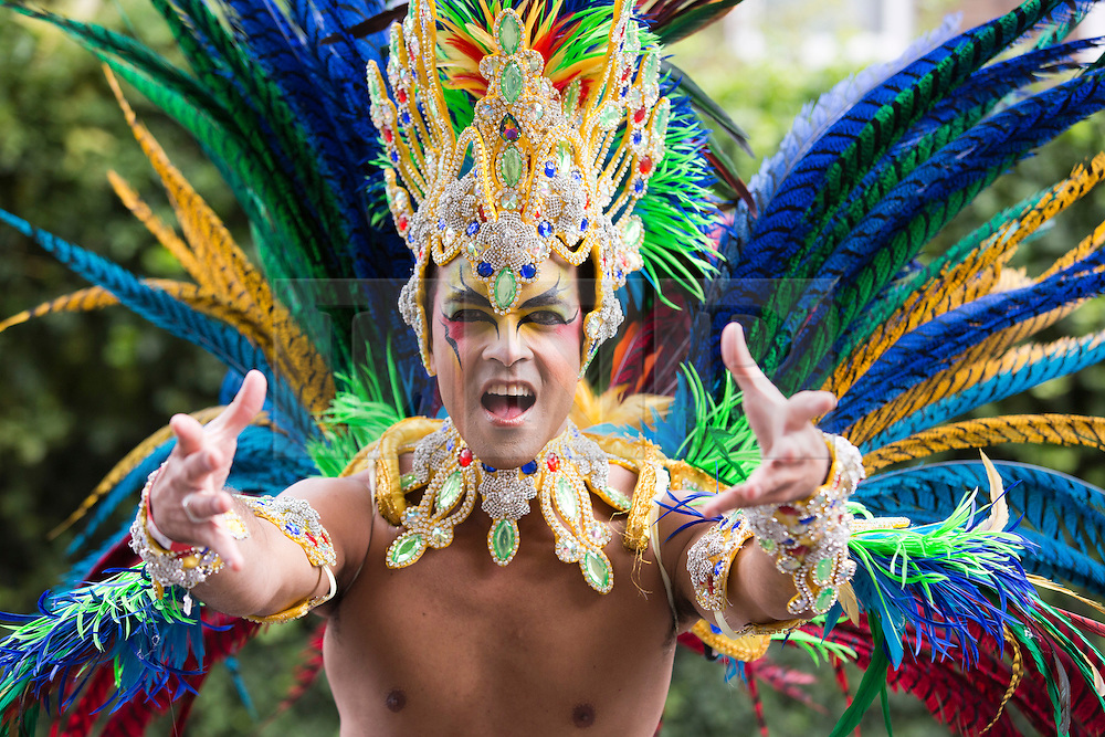 """© Licensed to London News Pictures. 27/08/2012 London, England. Pictured: dancers and performers from the """"Paraiso School of Samba"""". Notting Hill Carnival 2012, the largest street festival in Europe, gets its parade on Adults' Day under way. Photo credit: Bettina Strenske/LNP"""