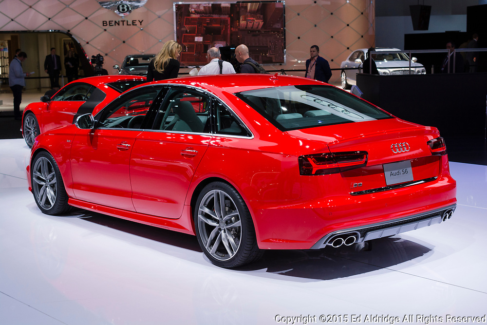 DETROIT, MI, USA - JANUARY 12, 2015: Audi S6 on display during the 2015 Detroit International Auto Show at the COBO Center in downtown Detroit.