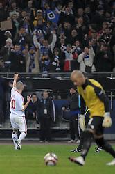 01.04.2010, HSH Nordbank Arena, Hamburg, GER, UEFA Europa League, Hamburger SV vs Standard Luettich, im Bild Jonathan Pitroipa (Hamburg #21) wird von Reginal Gorex (Lüttich #02) gefoult und der HSV bekommt einen Elfmeter, den Mladen Petric (Hamburg #10) zum 1-1 fuer Hamburg verwandelt . EXPA Pictures © 2010, PhotoCredit: EXPA/ nph/ Anja Witke / SPORTIDA PHOTO AGENCY