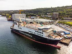 Port Glasgow, Scotland, UK. 21st September 2021. Aerial view of Glen Sannox ferry at Ferguson Marine shipyard on lower River Clyde at Port Glasgow, Inverclyde. Iain Masterton/Alamy Live News.