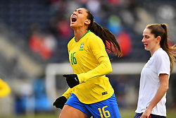 February 27, 2019 - Chester, PA, U.S. - CHESTER, PA - FEBRUARY 27: Brazil Forward Beatriz (16) reacts to a missed scoring opportunity in the second half during the She Believes Cup game between Brazil and England on February 27, 2019 at Talen Energy Stadium in Chester, PA. (Photo by Kyle Ross/Icon Sportswire) (Credit Image: © Kyle Ross/Icon SMI via ZUMA Press)