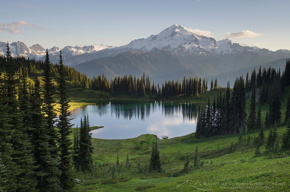 Image Lake and Glacier Peak seen from Miner's Ridge, Glacier Peak Wilderness North Cascades Washington.<br /> <br /> Glacier Peak (10,541′) or Dakobed is the most isolated of the five major stratovolcanoes of the Cascade Volcanic Arc.