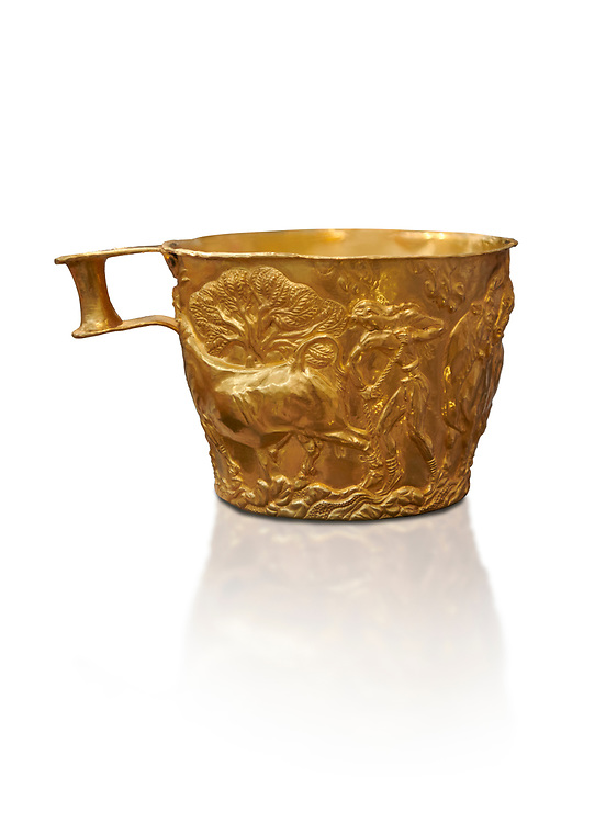 Vapheio type Mycenaean gold cup depicting a wild bull hunt , Vapheio Tholos Tomb, Lakonia, Greece. National Archaeological Museum of Athens.  White background.<br /> <br /> <br />  Two masterpieces of Creto - Mycenaean gold metalwork were excavated from a tholos tomb near Lakonia in Sparta in 1988. Made in the 15th century BC, the gold cups are heavily influenced by the Minoan style that was predominant in the Agean at the time. The bull hunt was popular with  Mycenaean  and Minoan artists and symolised power and fertility. The distinctive shape of the cup is kown as 'Vapheio type'. .<br /> <br /> If you prefer to buy from our ALAMY PHOTO LIBRARY  Collection visit : https://www.alamy.com/portfolio/paul-williams-funkystock/mycenaean-art-artefacts.html . Type -   Athens    - into the LOWER SEARCH WITHIN GALLERY box. Refine search by adding background colour, place, museum etc<br /> <br /> Visit our MYCENAEN ART PHOTO COLLECTIONS for more photos to download  as wall art prints https://funkystock.photoshelter.com/gallery-collection/Pictures-Images-of-Ancient-Mycenaean-Art-Artefacts-Archaeology-Sites/C0000xRC5WLQcbhQ