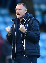 Bristol Rovers manager Graham Coughlan celebrates at full time. - Mandatory by-line: Alex James/JMP - 09/03/2019 - FOOTBALL - Glanford Park - Scunthorpe, England - Scunthorpe United v Bristol Rovers - Sky Bet League One