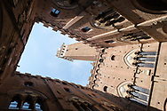 Siena - looking up from inside the courtyard of the Torre del Mangia