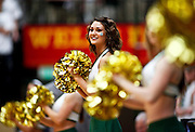 SHOT 1/28/12 3:04:01 PM - A Colorado State University cheerleader performs during a break in the action against San Diego State during the team's regular season Mountain West conference game at Moby Arena in Fort Collins, Co. Colorado State upset 12th ranked San Diego State 77-60. (Photo by Marc Piscotty / © 2012)