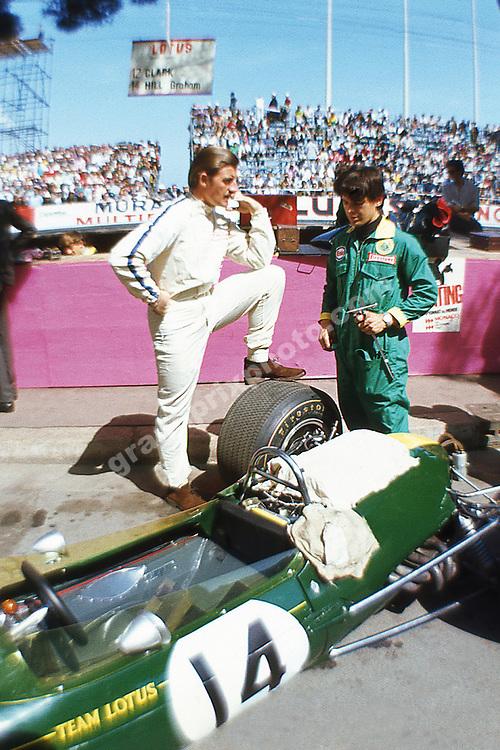 Graham Hill (Lotus-Ford) in the pits before the 1967 Monaco Grand Prix. Photo: Grand Prix Photo