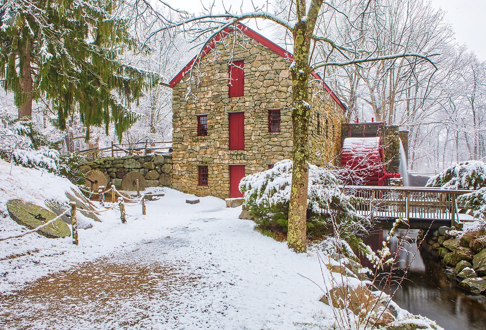 New England winter photography of the Sudbury Grist Mill at the Wayside Inn Historic District. This local New England landmark is in Sudbury, Massachusetts. <br /> <br /> Sudbury Grist Mill at the Wayside Inn Historic District winter photography images are available as museum quality photo, canvas, acrylic, wood or metal prints. Wall art prints may be framed and matted to the individual liking and interior design decoration needs:<br /> <br /> https://juergen-roth.pixels.com/featured/sudbury-grist-mill-juergen-roth.html<br /> <br /> Good light and happy photo making!<br /> <br /> My best,<br /> <br /> Juergen