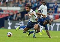 Football - 2017 / 2018 Premier League - Tottenham Hotspur vs. Chelsea <br /> <br /> Michy Batshuayi (Chelsea FC)  and Mousa Dembele (Tottenham FC)  fight for possession at Wembley Stadium.<br /> <br /> COLORSPORT/DANIEL BEARHAM