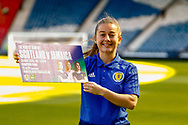 Scotland & Liverpool Midfielder Christie Murray during the pre-match press conference ahead of the Scotland Women's National Team final game on home soil before the squad head off to the FIFA Women's World Cup in France.<br /> Hampden Park, Glasgow, United Kingdom on 24 May 2019.