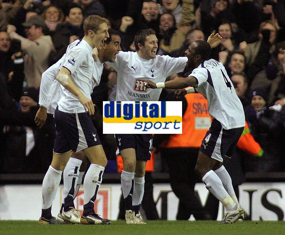 Photo: Paul Thomas.<br /> Tottenham Hotspur v Arsenal. Calring Cup, Semi Final 1st Leg. 24/01/2007.<br /> <br /> Spurs celebrate Julio Baptista's own goal.