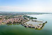 Nederland, Noord-Holland, Gemeente Hoorn, 05-08-2014; overzicht vanuit het Hoornsche Hop, zicht op de binnenstad met Grashaven (jachthaven) en Oostereiland<br /> Overview Hoorn.<br /> luchtfoto (toeslag op standard tarieven);<br /> aerial photo (additional fee required);<br /> copyright foto/photo Siebe Swart