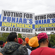 Sikh demand an Independent Khalistan - London Declaration on Referendum 2020 enough is enough Indian killing, murder and rape of Sikhs people men,women and children. Which during the British occupation promise of the Sikhs state in 1949. anf They,re some Kashmiris support the Sikhs and Kashmir Independent in Trafalgar Square on 12 August 2018, UK.