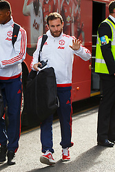 © Licensed to London News Pictures. 20/05/2016. London, UK. Manchester United player JUAN MATA and the team arrive at their hotel in Wembley, London on Friday, 20 May 2016, ahead of the FA Cup final against Crystal Palace in Wembley Stadium. Photo credit: Tolga Akmen/LNP