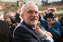 © Licensed to London News Pictures . 20/04/2017 . London , UK . JEREMY CORBYN leaves after delivering a speech to launch the Labour Party's campaign in the 2017 General Election , at Church House in Westminster . Photo credit: Joel Goodman/LNP