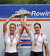 Lucerne, SWITZERLAND, USA W2X, Gold medalist, right,  Megan KALMOE and Ellen TOMEK, Third round of the  2009 FISA World Cup,  Rotsee Regatta Course, Sunday  12/07/2009 [Mandatory Credit Peter Spurrier/ Intersport Images]..