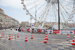 The first chasing group approaches the halfway point on La Course High Speed Pursuit 2017 - a 22.5 km pursuit road race on July 22, 2017, in Marseille, France. (Photo by Balint Hamvas/Velofocus.com)