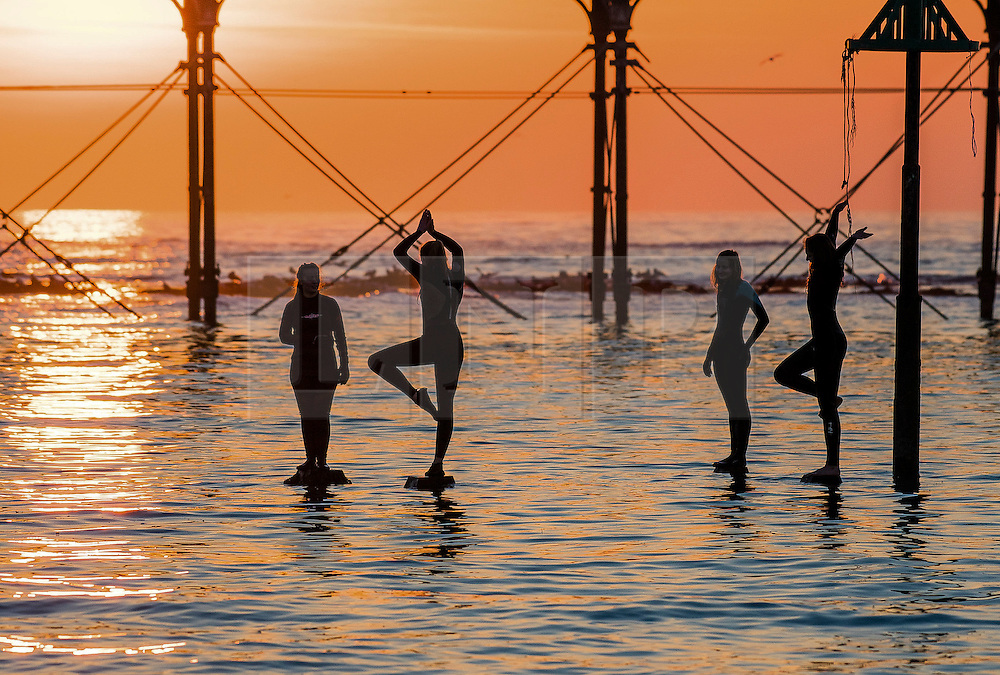 © London NewsPictures. 23/01/2017. Aberystwyth, UK<br /> At dusk, a group of young women jump and dive into the sea off the pillars of the seaside jetty as behind them thousands of starlings swoop in to roost over night underneath the Victorian seaside Pier. Photo credit: Keith Morris/LNP