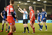 Referee Ian Tempest shows Leicester Tigers prop Dan Cole a yellow card during a Gallagher Premiership Rugby Union match Sale Sharks -V- Leicester Tigers, won by Sale 36-3  Friday, Feb. 21, 2020, in Eccles, United Kingdom. (Steve Flynn/Image of Sport via AP)