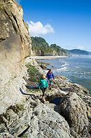 Backpacking along the Oregon coast. Hug Point, OR.