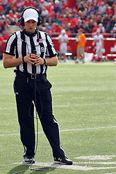 21 October 2017:   Matt Packowski during a play review during the South Dakota Coyotes at Illinois State Redbirds Football game at Hancock Stadium in Normal IL (Photo by Alan Look)