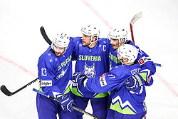 Miha Verlic of Slovenia, Jan Urbas of Slovenia, Ziga Pavlin of Slovenia and Bostjan Golicic of Slovenia celebrate during Ice Hockey match between National Teams of Kazakhstan and Slovenia in Round #4 of 2018 IIHF Ice Hockey World Championship Division I Group A, on April 27, 2018 in Arena Laszla Pappa, Budapest, Hungary. Photo by David Balogh / Sportida