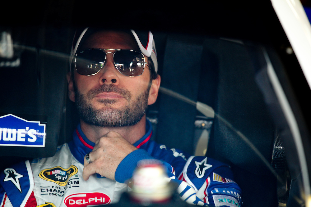 May 24, 2012; Concord, NC USA; NASCAR Sprint Cup Series driver Jimmie Johnson (48) during  for the Coca-Cola 600 at Charlotte Motor Speedway. Photo by Kevin Liles/kevindliles.com