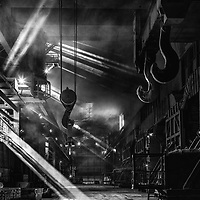 04/04/16 - Tata Steel Scunthorpe - Heavy End - Steel Production - steel making shed black and white and atmospheric