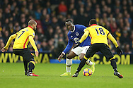 Romelu Lukaku of Everton looks to go past  Adlene Guedioura of Watford and Camilo Zuniga of Watford. Premier league match, Watford v Everton at Vicarage Road in Watford, London on Saturday 10th December 2016.<br /> pic by John Patrick Fletcher, Andrew Orchard sports photography.